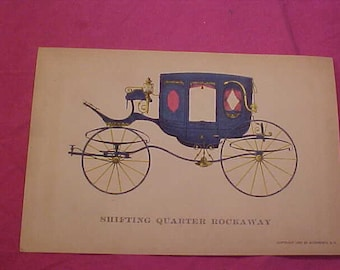 Early American Carriages Print 1952  Vintage AutoPrints NY.  Shifting Qtr Rockaway