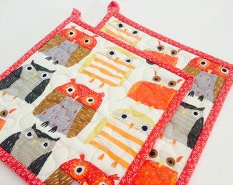 Owl Potholders, Quilted Potholders, Fabric Potholders, Set of 2, Owl Hotpads, Pot Holder