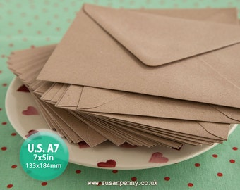 100 Kraft Envelope, U.S. A7 Greeting Card Envelope, 7x5in , Triangular Flap, Gummed, Flecked Brown, 110gsm, 100% recycled PSS078