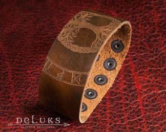 Celtic  Bracelet , Viking Bracelet , Men's Leather Wristband , Norse Leather Bracelet , Nordic Leather Bracelet Cuff , Men's Cuff Bracelet