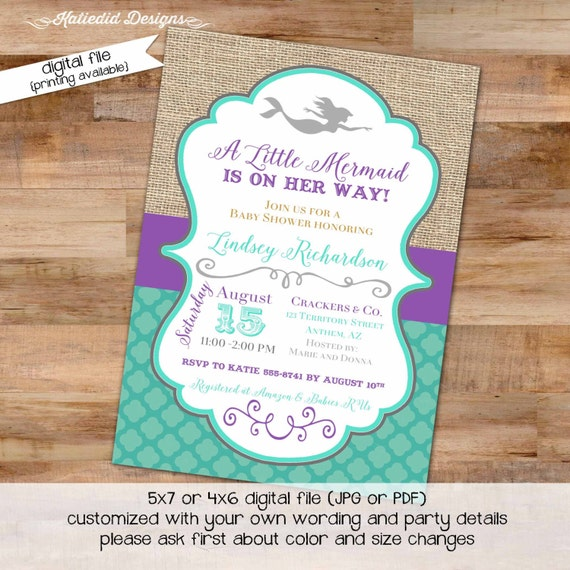 purple teal mermaid under the sea theme diaper wipe brunch rustic chic surprise gender burlap baby shower invitation 1365 katiedid designs
