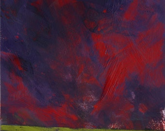 Original minimalist storm skyscape painting abstract - Red storm