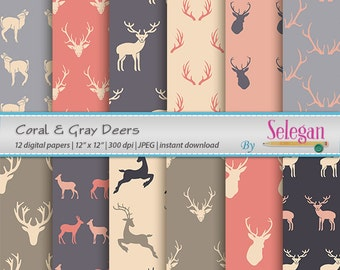 Coral & Gray Deers digital scrapbook paper christmas deer antlers paper 12x12 printable pattern wild animal background download