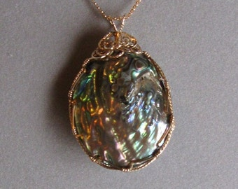 Abalone Shell Pendant in 14K Gold-Filled Wire