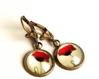 Poppy flower earrings, Vintage earrings, antique earrings, nature Earrings, gift for woman, friendship earrings, gift for mother, poppy