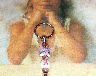 Pink Ribbon Zipper Pull, Zipper Pull, Beaded Zipper Pull, Jacket Zipper Pull, Backpack Zipper Pull, Key Chain