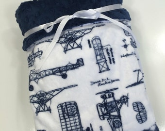 Baby Boy Blanket. Vintage Airplanes Minky Stroller Blanket Airplane Crib Blanket Baby Boy Shower Gift