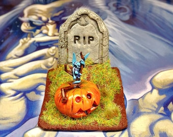 1:12 scale dollhouse miniature, Welcome Jack, Halloween pumpkin demon, graveyard headstone, polymer clay, garden decor, horror roombox ooak