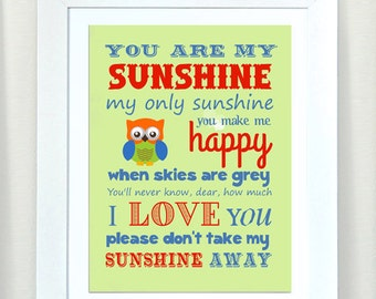 Nursery Art - You are My Sunshine Prints for Nursery or Kids Room,  Baby Nursery Decor,