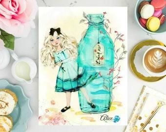 Alice in Wonderland Watercolor Print