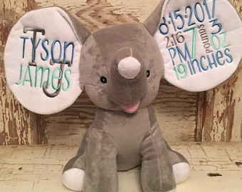 FAST SHIPPING! Birth Announcement Elephant-Baby Keepsake-Baby Gift-Birth Stat Elephant-Baby Shower-Monogrammed Stuffed Animal-Embroidered