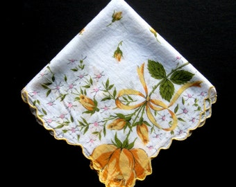 Vintage Handkerchief - Yellow Roses, Spring or Summer Handkerchief, Vintage Hankie, Vintage Hanky, Floral, Flowers, Cotton, Collectible