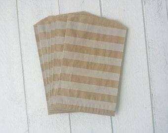 "25 Flat Kraft Horizontal Stripe Paper Bags-5""X7.5"""