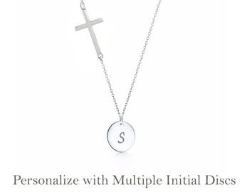Sterling Silver Cross and Initial Necklace - Personalized necklace, personalized initial disc necklace, Christmas gift for mom her CR05D