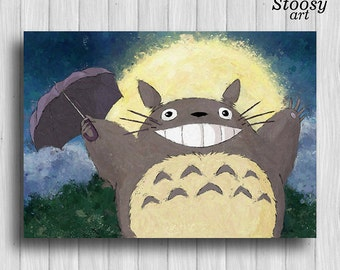 Totoro poster anime watercolor print manga art my neighbor totoro decor