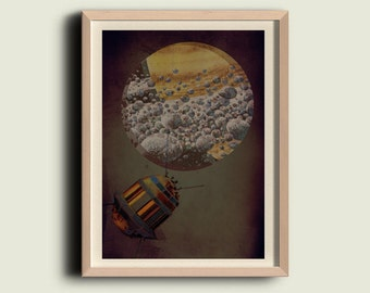 Vintage Style spaceship on a new planet Wall art print home decor