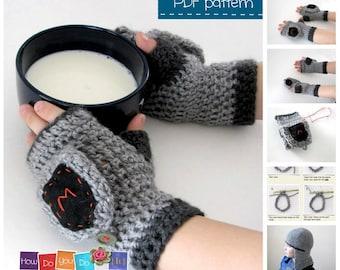 Halloween Costume For Boys , Knight Mittens , Crochet Pattern , Fingerless Gloves , Instant Download PDF , Beginner Crochet Photo Tutorial