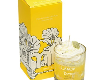 Scented candle in glass, lemon drop piped candle. Hand poured.