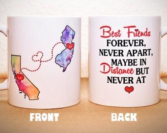 Custom State Coffee Mug   BFF Best Friends Christmas Gift   Sisters Mug   Double Sided   Personalized Mug   Long Distance State Coffee Mug