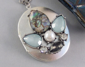 Aqua Moon,Locket,Silver,Turquoise Necklace,Pearl Necklace,Pearl,Diamond Necklace,Silver Locket,Blue Necklace,Blue Locket.valleygirldesigns.