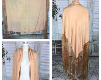 Original 1920s Vintage Peach Pink Silk Shawl Scarf With Macrame And Fringing
