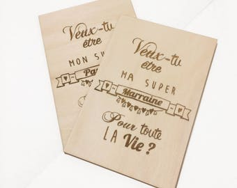 Carte gravée en bois : veux-tu être mon parrain/marraine ?