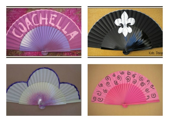 Large Semi Pericon WANT a CUSTOM MADE Customized Personalized Wooden Folding Spanish Hand Fan Hand Painted by Kate Dengra