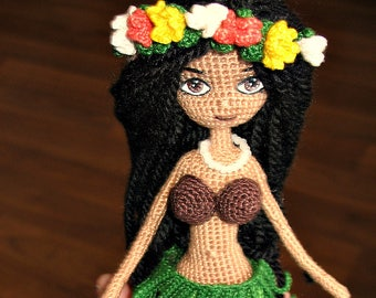 Hawaiian Hula Dancer Crochet Wireframe Doll Interior Hula Girl Toy ALOHA Hawaiian Girl Amigurumi Beach Miniature Handmade Doll