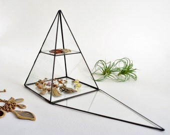 Glass Box. Pyramid Display Box, Stained Glass Display Box, Clear Glass Jewelry Box, Pyramid With a Hinged Door. Made To Order
