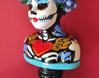 Day of the Dead Girl Bust Altar Statue Figurine - One of a Kind Art - Hand Painted Original