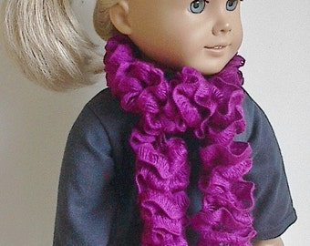 Knit Boa Scarf in Fuchsia Purple Handmade to Fit the 18 Inch American Girl and Similar Dolls