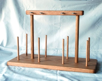 Wooden Yarn Warp Cone Spool Holder Guide Rack with 8 Spots for Weaving and Crafting