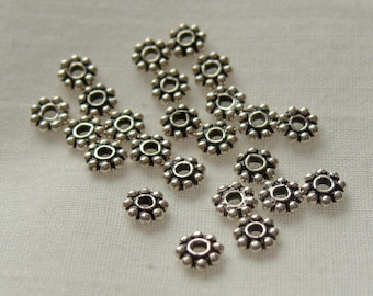 2 Dozen Sterling Silver 5mm by 1.3mm  Rondelle Spacer Bead Findings (512)
