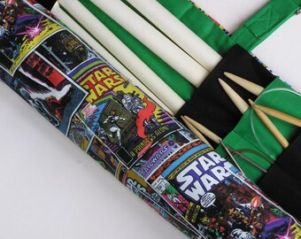 large knitting needle case - knitting needle organizer - colorful star wars- 36 pockets