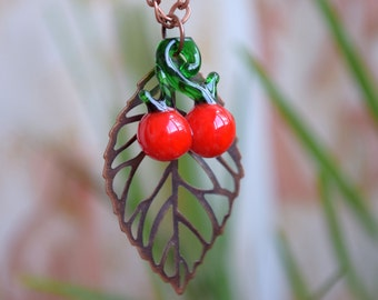 Summer necklace Leaf and cherry jewelry glass bead necklace lampwork Miniature food jewelry Berry necklace red cherries Fruit necklace