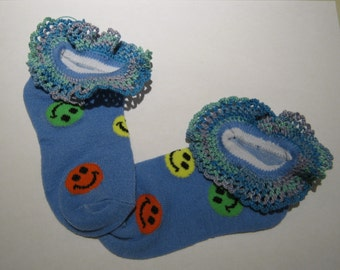 Hand Crocheted Lace edged Anklet's, ankle socks,  Distressed Denim Blue anklet with orange, green and yellow happy face, sock size 4 to 6