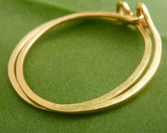 22k Gold Hoop Earrings, 1 Inch Thin Timeless Hoops, Handmade