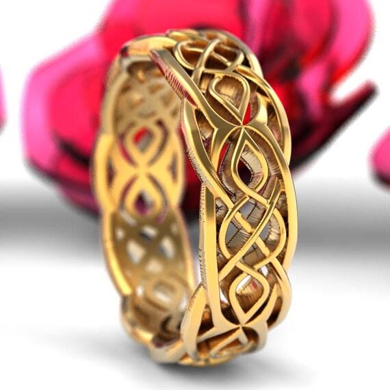 Gold Celtic Wedding Ring Partial Cut-Through Infinity Symbol Pattern & Quaternary Knots 10K 14K 18K Gold, Palladium or Platinum 1209