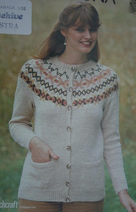 Cardigan Knitting Pattern Women Patons B 1919 Sweater Nordic