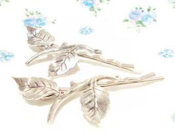 Leaf Branch Bobby Pin Set  -  Woodland Collection - Whimsical - Nature - Bridal - Silver