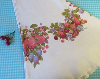 """Printed Linen Tablecloth - Round - Luther Travis - Pink Pears - Della Robbia - Fruit Swags - 68"""" Diam. - Fallani and Cohn - Vintage  1960's"""