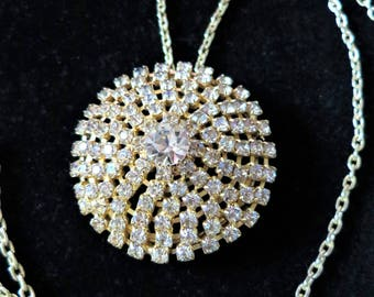 Vintage 1960s sparkly rhinestone pendant and chain