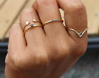 Stacking rings, perfect gift, set of 4 stack rings, simple rings, minimal rings, gold rings - MINIMALIST JEWELRY