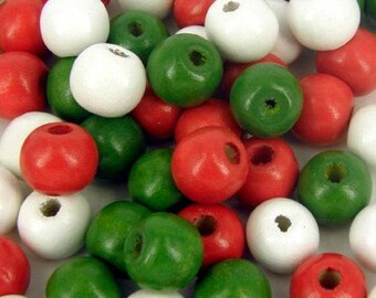 100 x 12mm Wooden round Christmas Red Green White Coloured Craft Jewellery craft Beads
