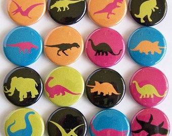 Neon Dinosaurs 1 Inch Pinback Buttons - Set of Six
