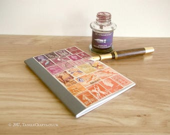 Purple Orange Sunset Pocket Bujo • Postage Stamp Art Collage