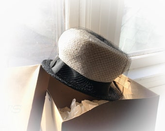 50's Straw Hat Black Netting Net Ribbon Buckle Bow Stern's Department Store New York Vintage Womens Spring Hats Cream White Black Woven