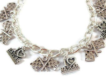 Nascar Racing Bracelet - Nascar Charm Bracelet - I Love Racing Jewelry - Love Racing Gift - Checkered Flag Charm - Nascar Charm  Racing