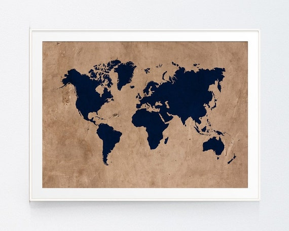 Vintage style rustic world map print wall art navy map vintage style rustic world map print wall art navy map earthy decor travel poster travel map something blue decor instant download gumiabroncs Gallery