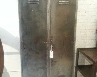 Vintage industrial stripped steel factory double locker unit